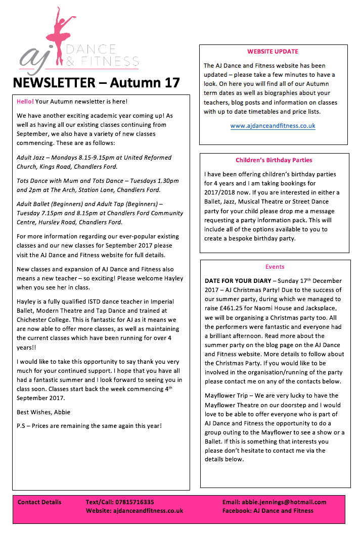 AJ Dance and Fitness Newsletter - Autumn Term 2017